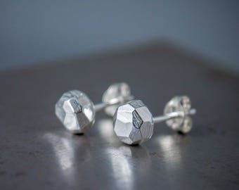 Faceted Silver Stud Earrings - Small Chunky Nugget Earrings - Unisex Earring