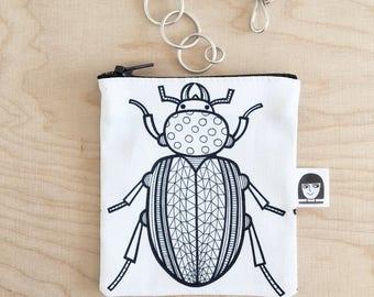 Geometric Beetle Fabric Purse / Make up Bag