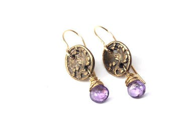 Vintage Button Earrings with Amethyst