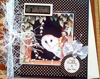 Handmade birthday card, owl greetings card, happy birthday to you hoo, wise owl nature card