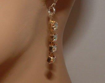 Tiny Rhinestone Dangle Earrings
