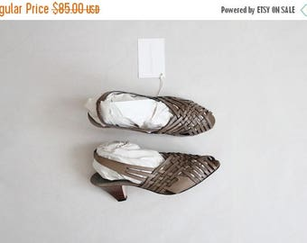 25% OFF SALE sage leather heels | strappy sandals | size 8.5 heels