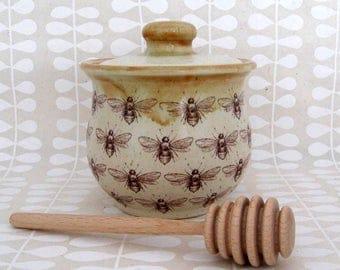 Honey Jar- Honey Pot - Condiment Jar - Bees - Honey Bees - Wheel Thrown Pottery - Ready to Ship