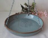 Hanging Ceramic Bird Bath - Handmade Stoneware Garden Décor - Indoor or Outdoor - Bird Lovers Gift - Ready to Ship - Blue Green g087