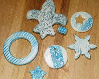 Robin's Egg Blue & Porcelain Mixed Lot 7 Pieces