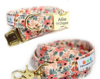 Floral Dog Collar and Leash Set, Engraved Les Fleurs Rosa Flora Peach Personalized