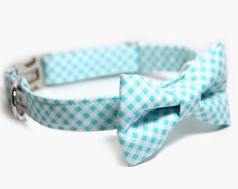 Aqua Tartan Bow tie Dog Collar, Personalized Bow Tie Collar, Aqua Bias Check