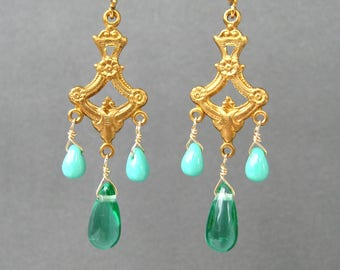 Brass Chandelier Clip-on Earrings, Gold Ear Clips, Green Glass Teardrops, Robin's Egg Blue Glass Drops, Dangle Non Pierced Earrings, Myrna