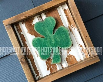 Shamrock, Irish Pride. Vintage-looking upcycled wood sign, hand made, hand painted