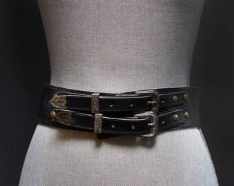 Vintage Black Double Buckle Leather Waist Belt, Antiqued Navajo Style Silver Buckle, Wide Black Statement Belt, Vintage Black Leather Belt