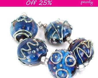 Pearly Blue Metallic Stones Lampwork beads (5) SRA