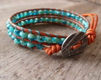 Wrap Bracelet - Beaded Bracelet - Leather Bracelet - Boho Bracelet - Beaded Jewelry - Turquoise Jewelry - Aqua and Turquoise Beaded Bracelet
