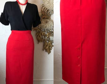 1980s skirt 80s skirt red skirt wool skirt Size small Vintage skirt secretary skirt pencil skirt fitted skirt 26 waist office skirt