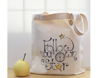 canvas tote bag, follow your star, quote bag, graduation gift for her,  everyday carry, whimsical, white and yellow, positive words