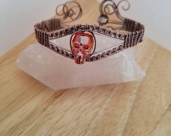 Swarovski Crystal Skull Bracelet Astral Pink Orange in Oxidized Copper Wire Wrapped Jewelry Handmade Gothic Boho Cuff Wrap a Diamond Quartz