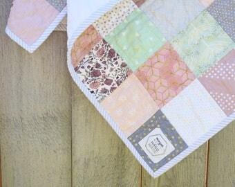 Custom patchwork crib quilt/Pastel Baby Quilt