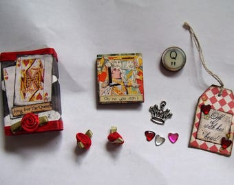 The Queen of Hearts/Alice in Wonderland Matchbox with 5+ Goodies Inside/Decoration/Stocking Stuffer/Gift