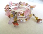 Memory Wire Bracelet, Fairy Bracelet, Beaded Bracelet, Bohemian Wrap Bracelet, Lavender and Pink, Wrap Bracelet, One Size Fits all