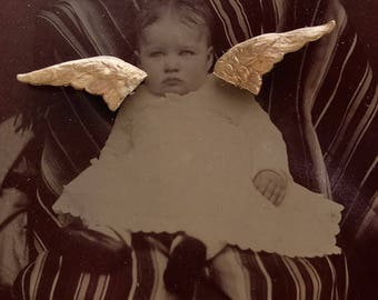 Angel Baby Vintage Tin Type Photograph Sterling Wings