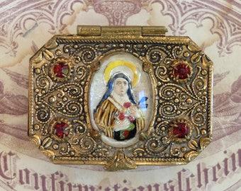 Vintage Rosary Box Intaglio St Theresa Cabochon