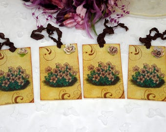 Antiqued Flowering Cactus Gift Tags Handmade Gift Tags