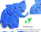 SALE! 100 Plantable Flower Seed Paper Elephant Baby Shower Favors - Royal Blue Only - Special Limited Set