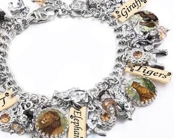 Animals Bracelet, Wild Animals, Safari Jewelry, Elephant Bracelet, Tiger Bracelet, Giraffe Jewelry, Zebra Bracelet