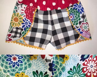 Floral and Gingham Shorts