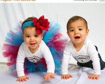 "SUMMER SALE 20% OFF Girls Birthday Tutu and Headband Set - Custom Sewn Tutu Red Blue - Suess Sweetheart - 8"" tutu - sizes Newborn to 5T"