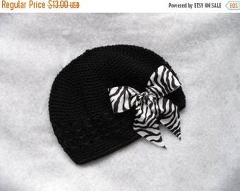 SUMMER SALE 20% OFF Posh Punk Beanie Set - Black Beanie Hat with Removable Zebra Bow Clip - get one to match your tutu