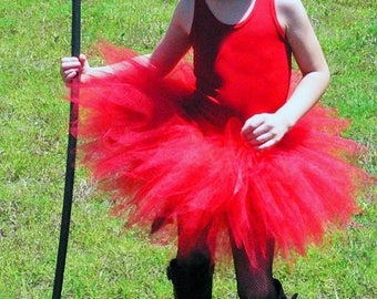 "SUMMER SALE 20% OFF Little Devil Dearest - Tutu Costume - Includes a sewn 11"" red pixie tutu, red devil horns headband and tail - Girls size"