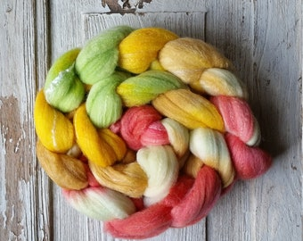 Roving (Top) braid of spinning fiber - Targhee 80 silk 10 Bamboo 10 blend  colorway  ZESTY