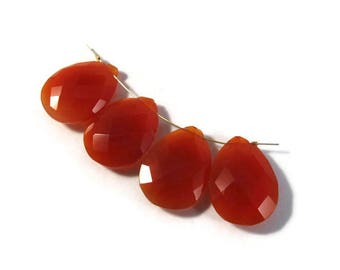 Four Carnelian Beads, Imperfect Lot of Orange Teardrop Briolettes, Pear Shaped Natural Gemstone, Top Drilled Bead, 21mm x 15mm (L-Mix13c)