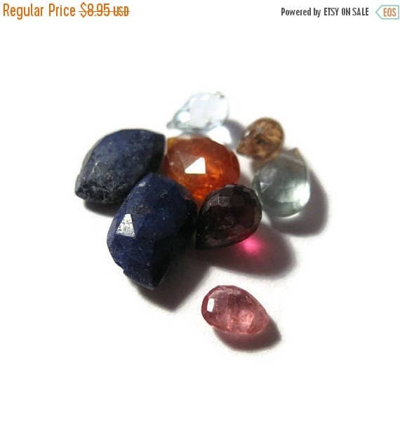 Summer SALEabration - Briolette Grabs : Mixed Lot of 8 Gemstone Beads for Making Jewelry (B-Mix8d)