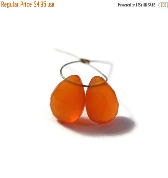 Summer SALEabration - Two Carnelian Beads, Bright Orange Teardrop Briolettes, Matched Pair, 2 Pear Shaped Natural Gemstones, 7x4mm - 8x5mm (