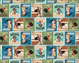 Disney MOANA, Moana book cover blocks, cotton fabric, 1 Yard