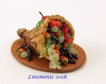 12th Scale Handmade Dollhouse Miniature Soft Fruit Cornucopia