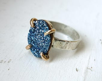 Bright Blue Druzy Drusy Ring in Sterling Silver and 14k Goldfilled Prongs