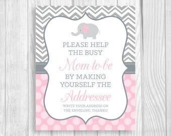 Printable Help the Busy Mom-to-Be 8x10 Write Your Address Elephant Baby Shower Sign - Gray Chevron Light Pink Polka Dots - Instant Download