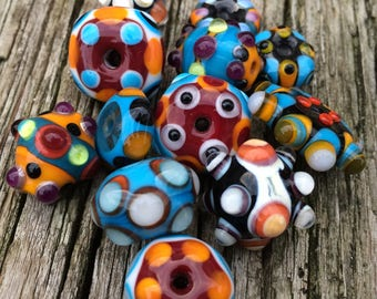Set of Artisan Handmade Lampwork Glass Beads For Jewelry Design in Turquoise Ivory and Orange