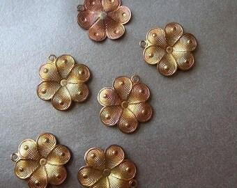 SALE 20% Off Brass 12mm Stylized Dapped Patina Flower Charms 6 Pcs