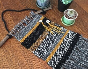 Mustard, Black & Gray Wall Weaving