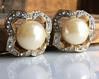 Vintage Rhinestone and Faux Pearl Earrings, Big Earrings, Clip On Earrings, Regal Earrings, Etsy, Etsy Jewelry