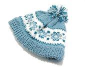 Fair Isle beanie, snowflake knit hat, pom pom knit hat, Icelandic wool hat, hand knit wool hat, Nordic wool hat, wool knit ski cap