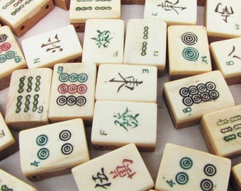 10 Vintage Bone and Bamboo Mah Jong Tiles for Jewelry Making, Crafts & Altered Art