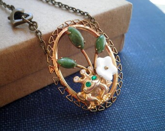 Frog Prince Necklace - Vintage Assemblage Frog Pond Pendant - Brass Frog + White Glass Flower + Jade Green Leaf Nature / Animal Jewelry Gift