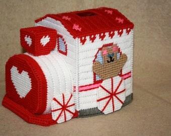 Valentine tissue box cover train