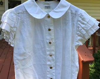RARE Authentic Vintage Chanel peter pan collar white linen ruffle sleeve blouse