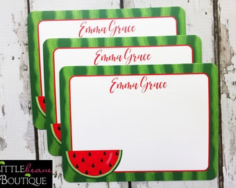 Watermelon Notecards, Watermelon Stationery, Flat notecards, Watermelon Birthday Party, Thank you Notes, childrens stationary