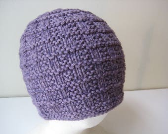 purple knit hat hand knit cap